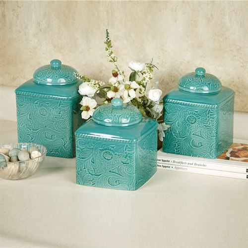 Merveilleux Savannah Canister Set Turquoise Set Of Three