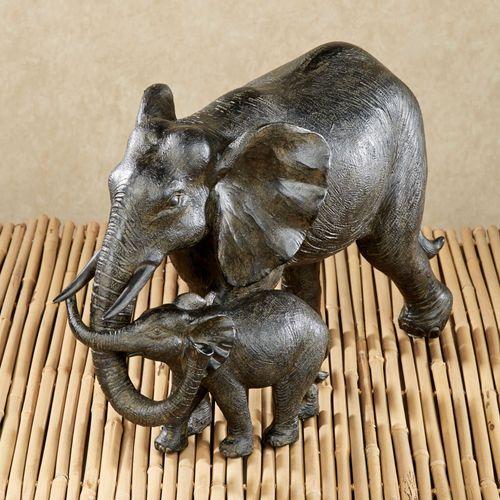 Matriarch and Calf Elephant Sculpture Bronze
