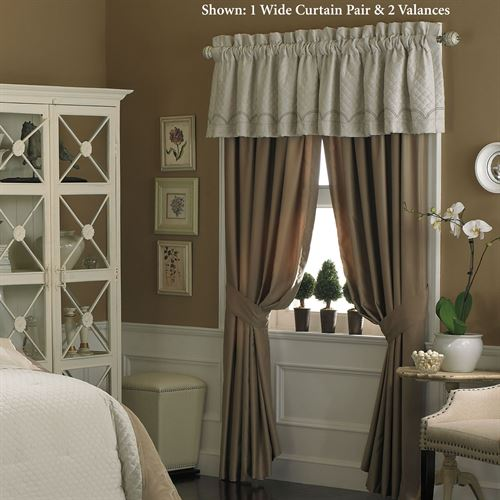 Graceful Pirouette Wide Curtain Pair Light Almond 110 x 84