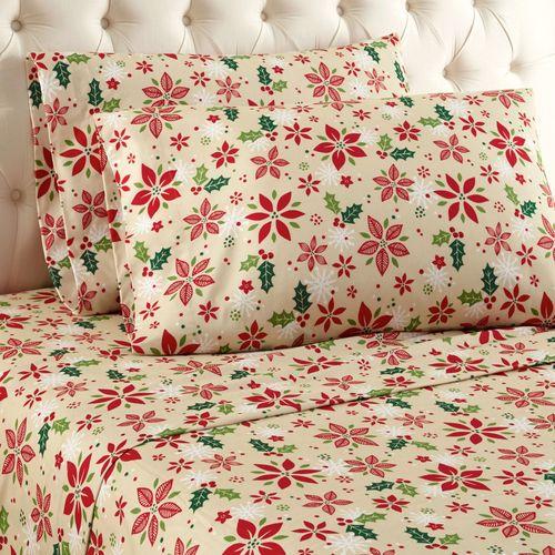 Poinsettia Sheet Set Straw