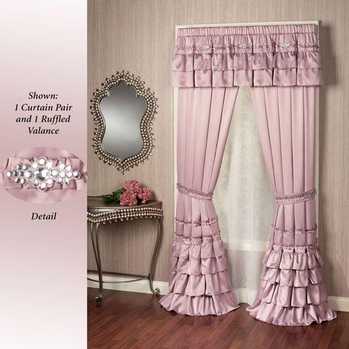 Enchante Ruffled Curtain Pair Dusty Mauve