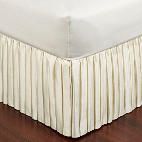 Box Pleated Sateen Bedskirt Light Cream