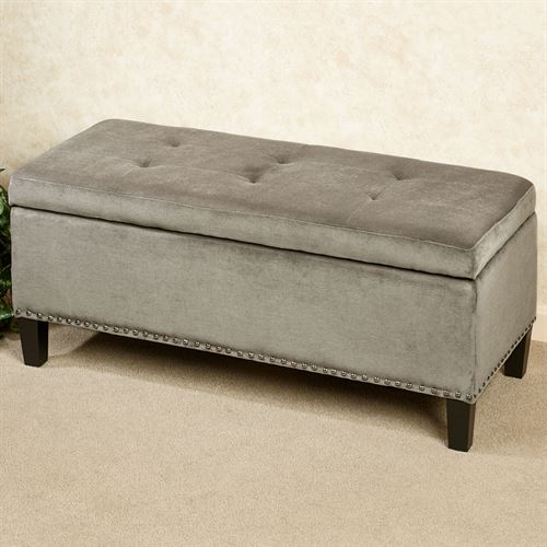 Belle View Storage Bench Silver Gray