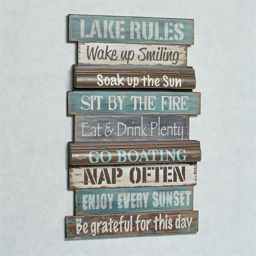 Lake Rules Wall Sign Multi Cool