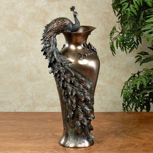 Edeline Peacock Vase Bronze