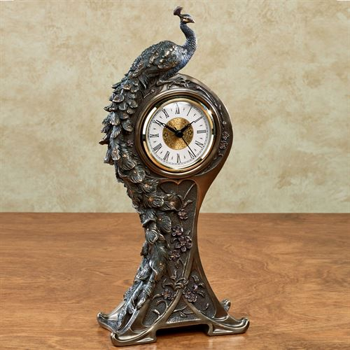 Edeline Peacock Clock Bronze