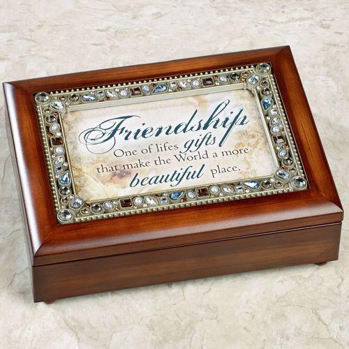 Friendship Jeweled Music Box Brown
