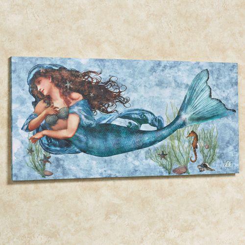 Captivating ... Mermaid Canvas Wall Art. Under The Sea Canvas Light Blue