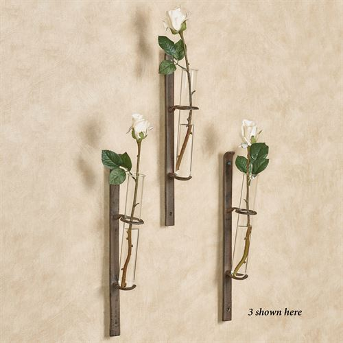 Glass Flower Bud Wall Vase Brown