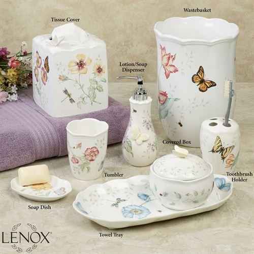 white porcelain bathroom accessories lenox butterfly meadow porcelain bath accessories 21580