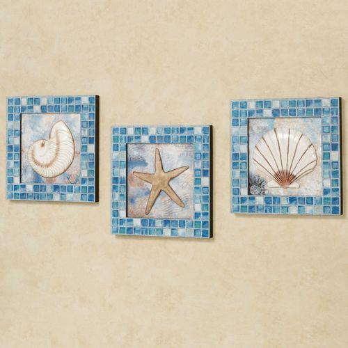 Shell Trio Wall Art Blue Set of Three