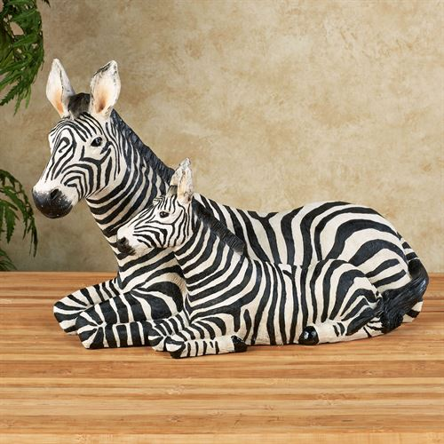 Zebra and Foal Table Sculpture Black