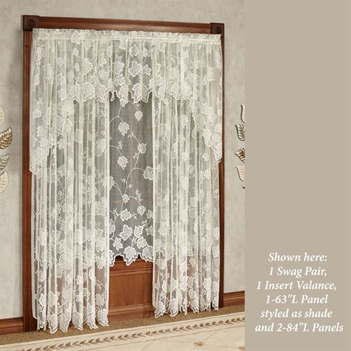 Dancing Leaves Lace Curtain Panel Ivory