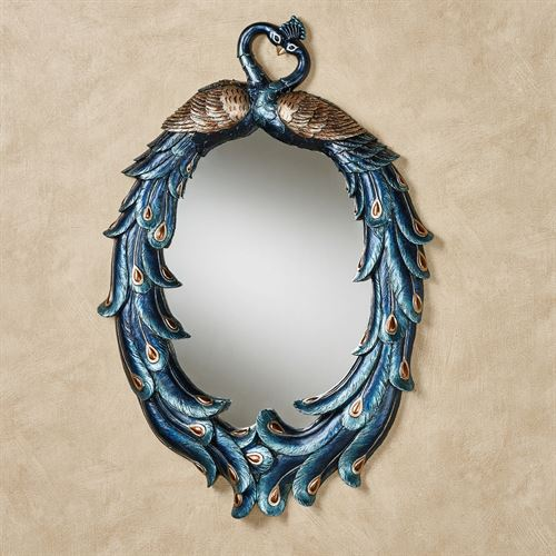 Priscilla Peacocks Oval Wall Mirror Blue