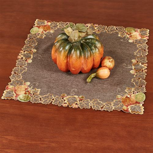 Leaves and Pumpkins Small Table Topper Brown 20 Square