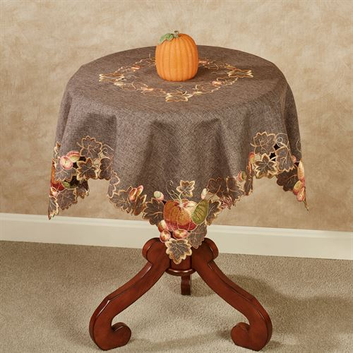 Leaves and Pumpkins Table Topper Brown 36 x 36