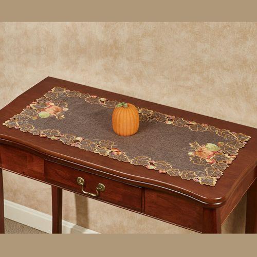 Leaves and Pumpkins Table Runner Brown 16 x 36