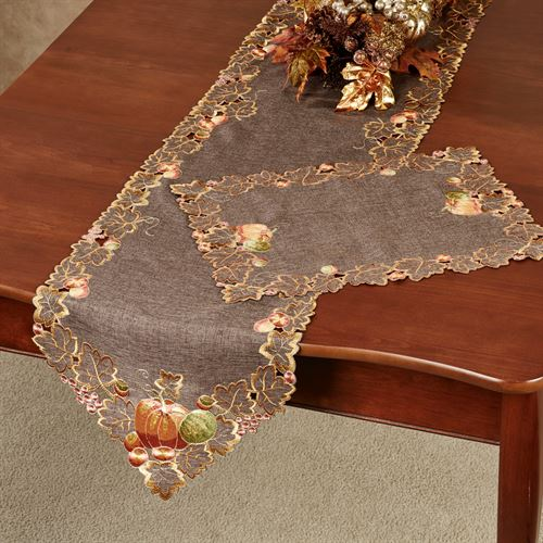 Leaves and Pumpkins Long Table Runner Brown 16 x 72