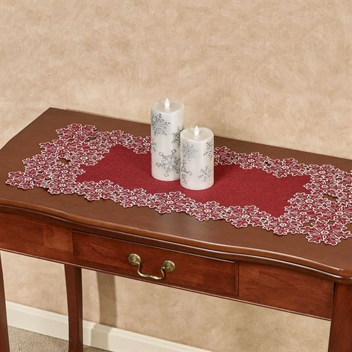Snowflake Table Runner Red 16 x 36