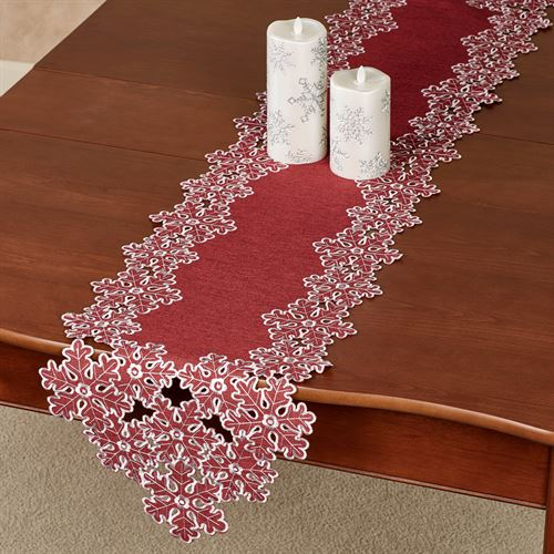 Snowflake Long Table Runner Red 13 x 65