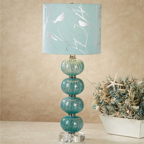 Baccus Table Lamp Teal Each with LED Bulb