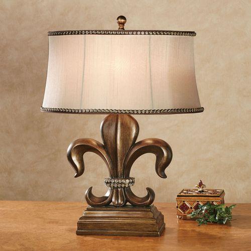 Fayette Fleur de Lis Table Lamp Antique Bronze Each with LED Bulb
