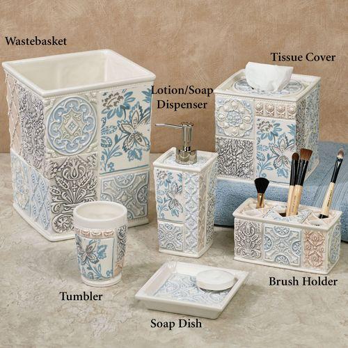 Veneto Medallion Ceramic Bath Accessories. Veneto Lotion Soap Dispenser  Ivory