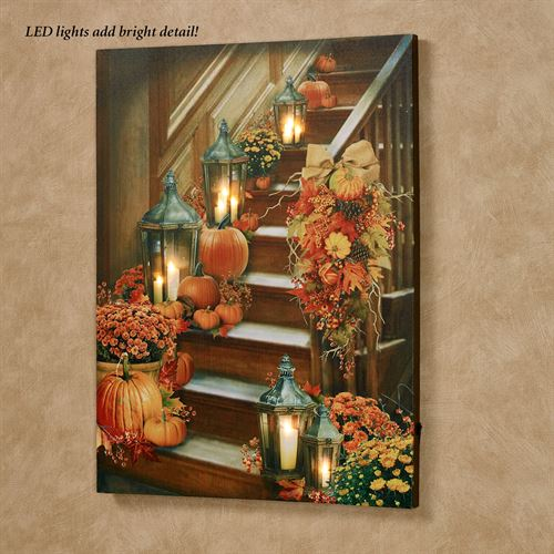 Harvest Stairway LED Canvas Wall Art Multi Warm