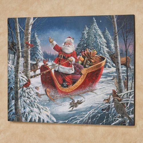 Christmas Parade Canvas Wall Art Multi Warm