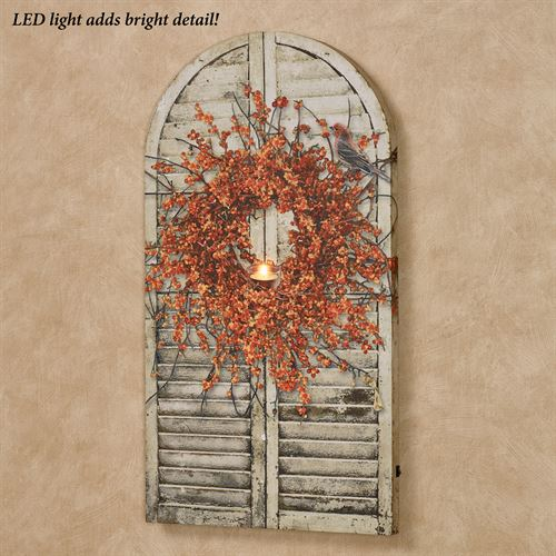 Bittersweet Wreath LED Canvas Wall Art Multi Warm