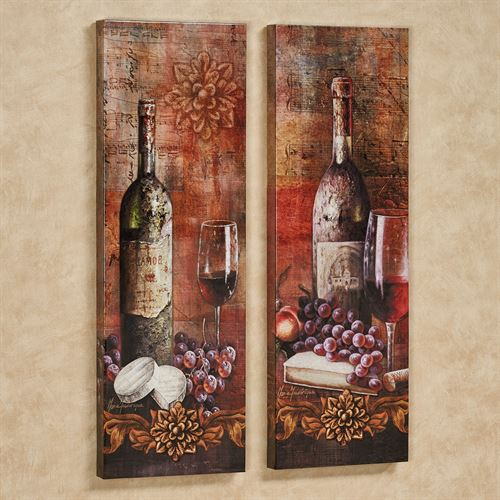 Grapes of Toscana Canvas Wall Art Multi Warm Set of Two