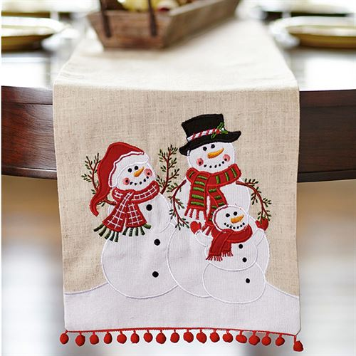 Snowman Family Table Runner Linen 13 x 72