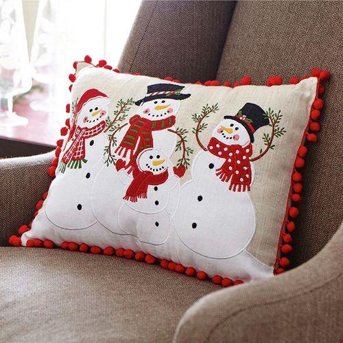 Snowman Family Decorative Pillow Linen Rectangle