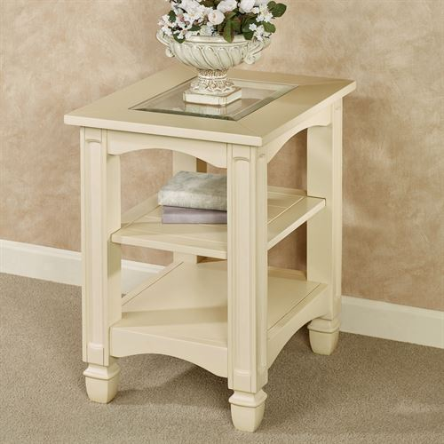 dover light cream wooden chairside table