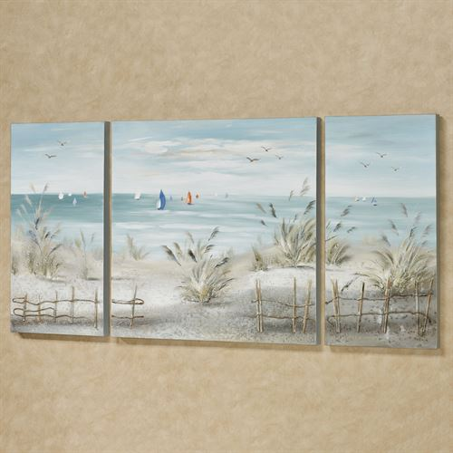 A Day Sailing Triptych Canvas Wall Art Multi Cool Set of Three