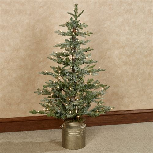 Prelit Lighted Iced Flat Back 4 Foot Tall Artificial Christmas Tree