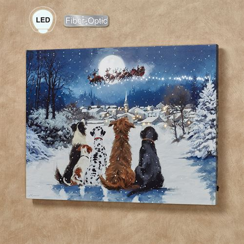 Dogs Watching Santa Lighted Canvas Wall Art Multi Cool