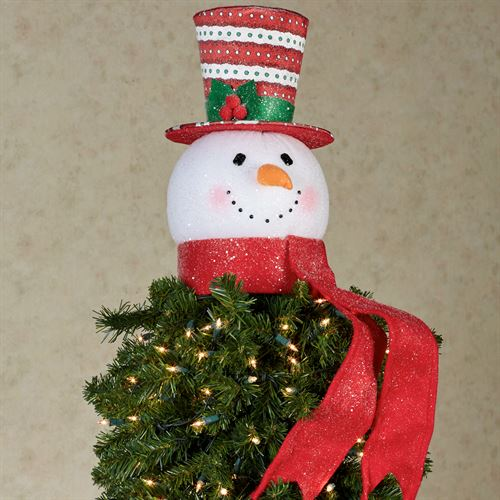 jovial snowman tree topper red