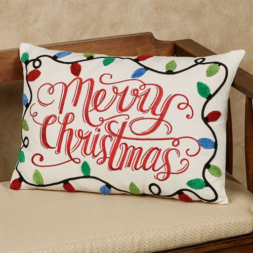 merry christmas lights decorative pillow multi bright rectangle - Christmas Decorative Pillows
