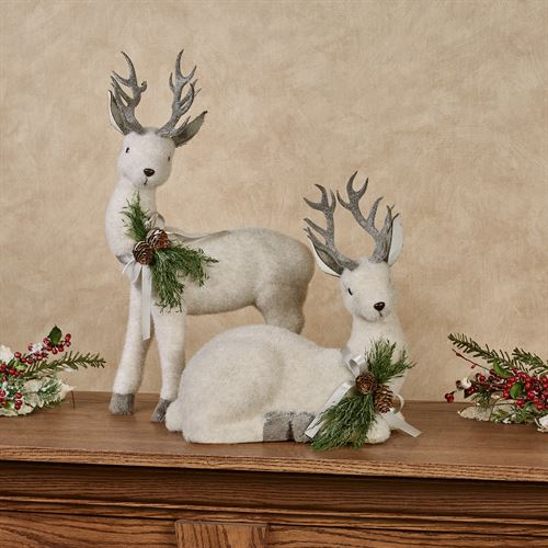 Woodland Deer Figures White Set of Two