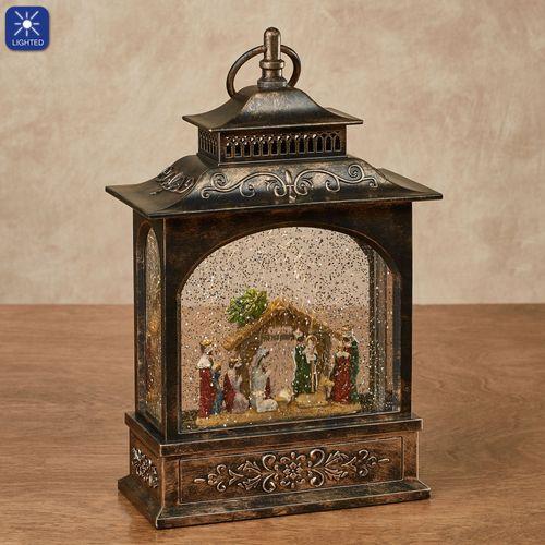 Nativity Lighted Water Lantern Bronze