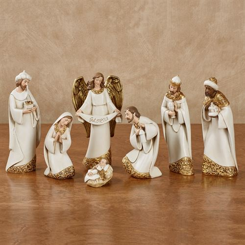 Joyous Nativity Figurines Ivory Set of Seven