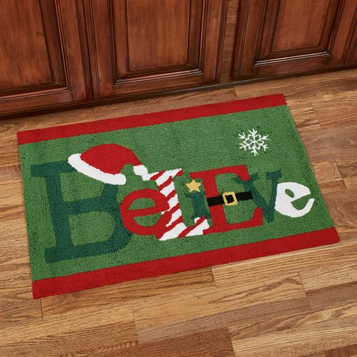 Christmas Cheer Believe Accent Rug Green 34 x 22