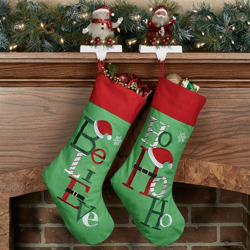 Believe Christmas Stocking Green