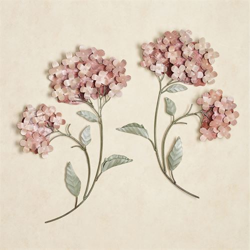 Peach Hydrangea Wall Sculpture Set Set of Two