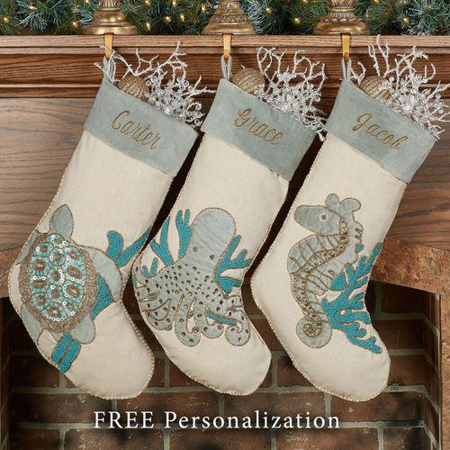 holiday serenity beaded coastal christmas stockings seahorse stocking multi cool - Coastal Christmas Stockings