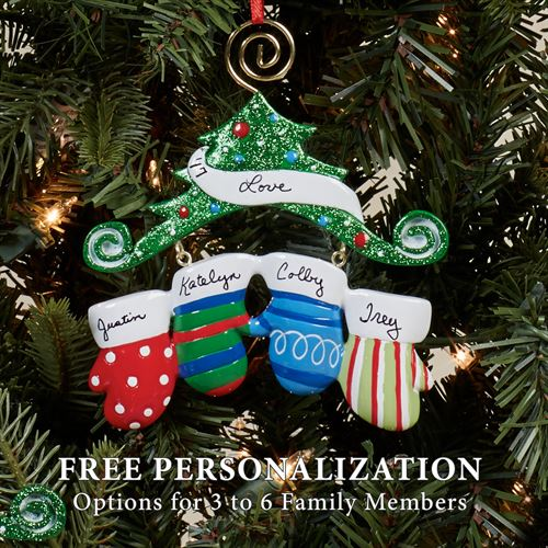 Three Mitten Family Ornament Multi Warm