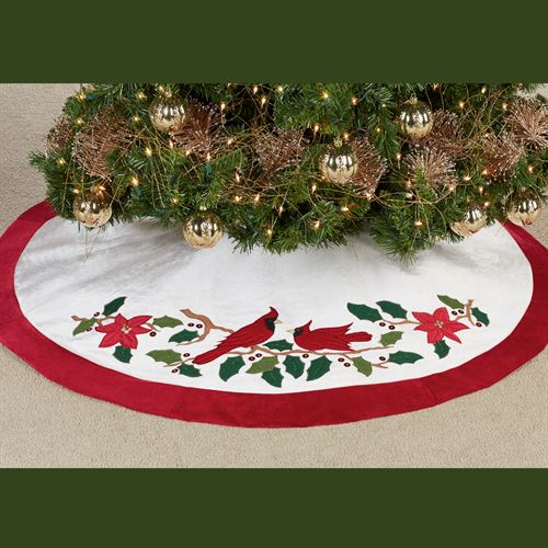 kurt adler cardinal christmas tree skirt