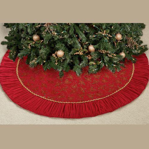 Venetian Ruffle Christmas Tree Skirt Red 52 Diameter