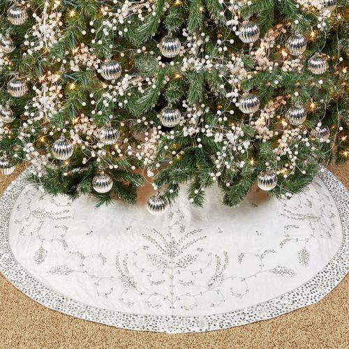 Glistening White Tree Skirt Silver